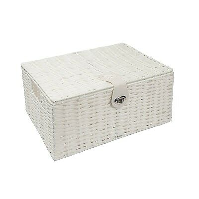 Woodluv Woven Resin Storage Box Hamper Basket With Lid & Lock - Large, White. Sh