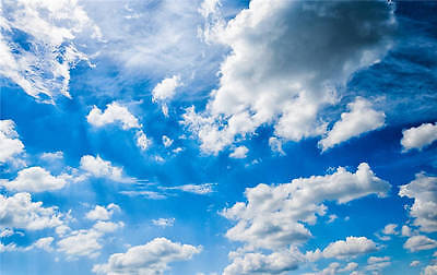 Blue Sky Clouds Removable Full Wall Mural Photo Wallpaper Print Home 3D Decal