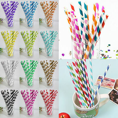 25/50/100pcs Biodegradable Paper Drinking Straws Striped Birthday Party GB
