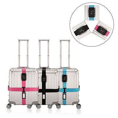 Adjustable Suitcase Cross Luggage Strap Travel Baggage Tie Down Belt Lock 3Color