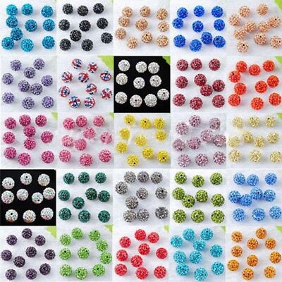 20X Hi-Q Czech Crystal Rhinestones Pave Clay Round Disco Ball Spacer Bead Craft