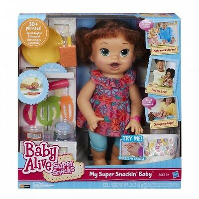 Baby Alive Doll Baby Alive Super Snacks Snackin' Sara Brunette  Moving Mouth ...