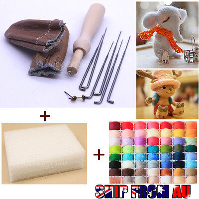 20 Colour DIY Wool Needles Felt Tool Set + Needle Felting Mat Starter Kit Craft