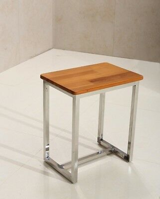 Sensual Spas Shower Stool Seat With Anti Rot Wood Effect And Chrome Leg Disabled