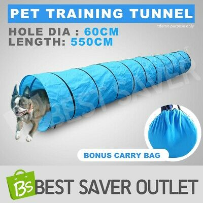 5.5M Long Pet Dog Agility Training Exercise Tunnel Chute & Carry Bag Waterproof