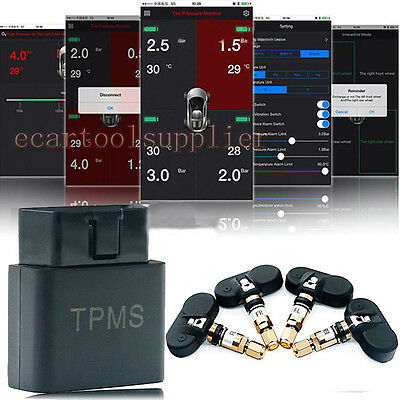 Universal Car OBD2 TPMS Tire Pressure Monitor System+4 Sensor For iPhone Android