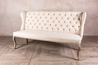 Upholstered 2 Seater French Louis Style Sofa Cream Bench Button Back