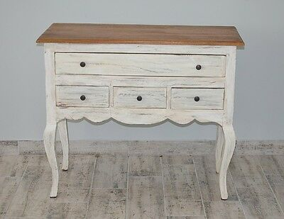 French White Chest Of 4 Drawers Cabinet Sideboard Vintage Retro Cupboard Wood