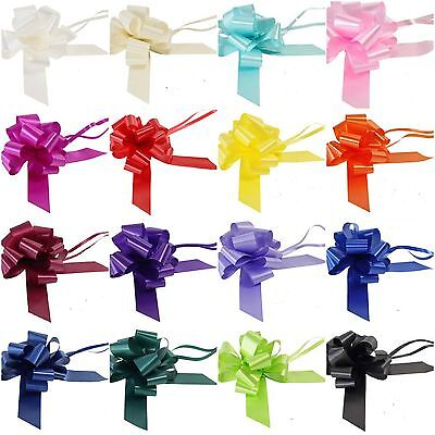 "5x 50MM (2"") WIDE PULL BOWS POLY RIBBON IDEAL WEDDING CAR DEC, GIFTS ETC"