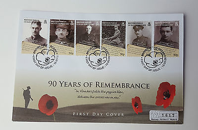 British Indian Ocean Territory - 90 Years Of Remembrance Fdc - Rare Stamp Cover