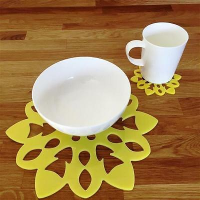 Yellow Snowflake Shaped Placemat and Coaster Set