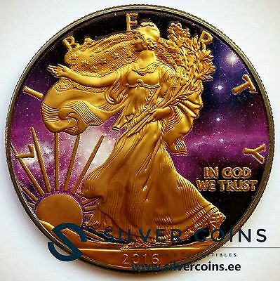 Silver American Eagle Coin Ruthenium plated, Colorized and Gold Gilded Universe