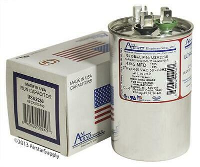 45 + 5 uF MFD x 370 / 440 VAC Motor Run Capacitor AmRad USA2236 - Made in USA