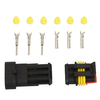 10 Kit 3 Pin Way Waterproof Electrical Wire Connector Plug L6