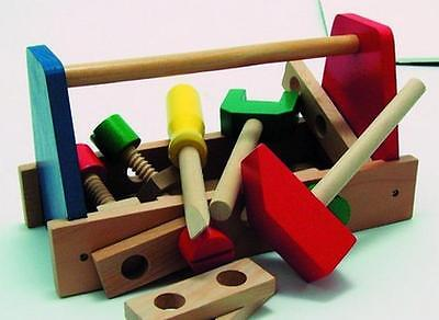 Kids Childrens Wooden Toolbox Construction Toy Play Set Builder Hammer Tools