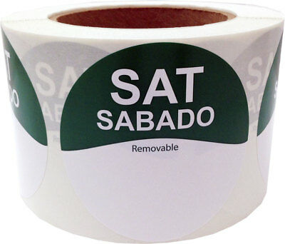 """Removable Food Rotation Labels - 3"""" Round for Saturday/Sabado - 500 Total Labels"""