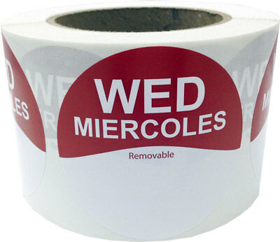 """Removable Food Rotation Labels - 3"""" Round for Wednesday/Miercoles - 500 Total"""