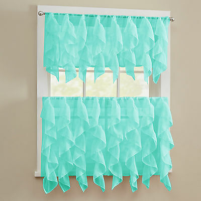 Sheer Voile Vertical Ruffle Window Kitchen Curtain Tiers or Valance Sea