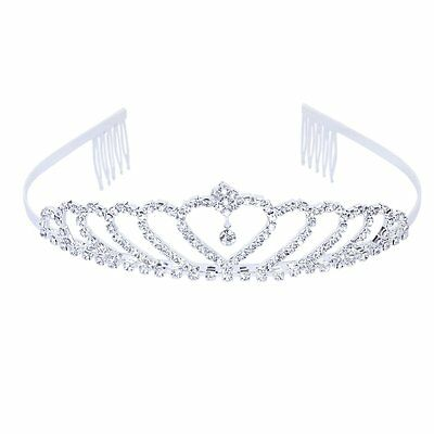 Crown Tiara Princess Headband Stylish Rhinestone with Pin for Wedding L6