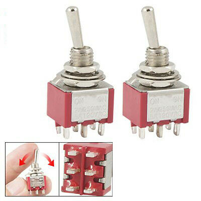 2 Pcs ON/ON 2 Position Double Pole Double Throw Toggle Switch L6