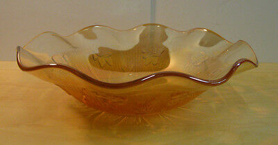 Vintage Carnival Glass Iris bowl - 11-1/2 inches wide x 3-3/8 inches Deep - 1E