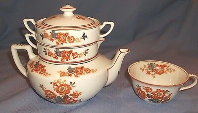 """Vintage Ldb Co. 6""""H Stacked/Nesting Floral Motif Teapot Set W/Cup!"""