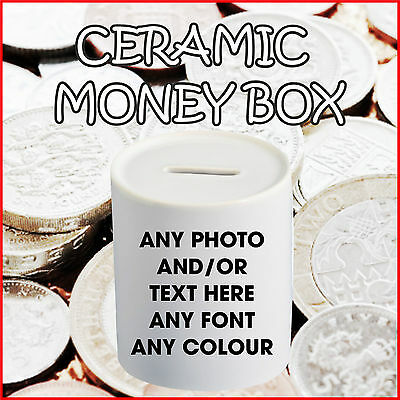 Personalised Money Box Any Photo/Text Piggy Bank Saving Fund Birthday Christmas