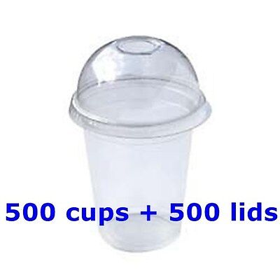 1000 PC Plastic cups Cold cups and dome lids 12 OZ ,500 cups + 500 lids