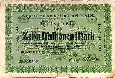1923 Germany FRANKFURT AM MAIN  10.000.000 / 10 Million Mark Banknote