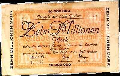 1923 Germany BOCHUM  10.000.000 / 10 Million Mark Banknote