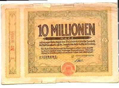 1923 Germany DUISBURG  10.000.000 / 10 Million Mark Banknote