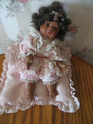 Seymour Mann Connoisseur Collection Musical Doll African American Baby on Pillow