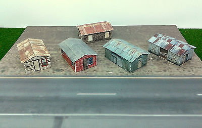 Z Scale Buildings - (5) Weathered Sheds  Cardstock kit set