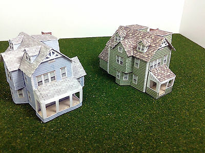 Z Scale Buildings Houses (2 pcs) - Card Stock Model Kit GW2