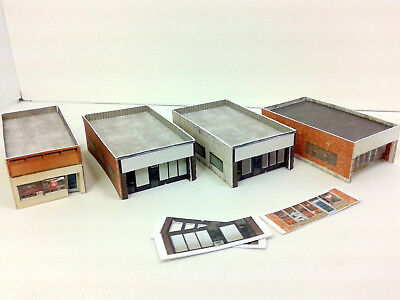 Z Scale Buildings (4) - Single Storey Shops / Office  - Card Stock Kit w/signage