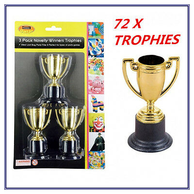 72 X Mini Small Novelty Party Gold Trophies - Birthday Party, Event, Olympic Fw