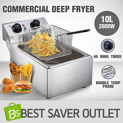 2800W Deep Fryer Commercial Electric Stainless Steel Frying Basket Cooker 10L