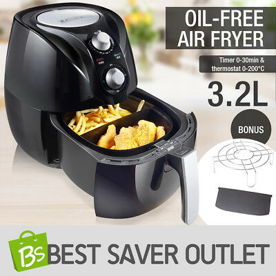 3.2L Deep Air Fryer Oil Free Low Fat Kitchen Healthy Rapid Cooker with Alarm BK