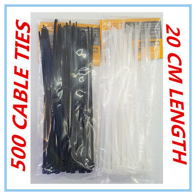 500 X Black & White Heavy Duty Cable Ties - 20 Cm - Home Garden Office - Ap