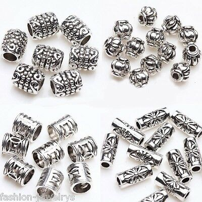 50/100 Tibetan Silver Plated Carving Tube Loose Spacer Bead Charm Jewelry Making