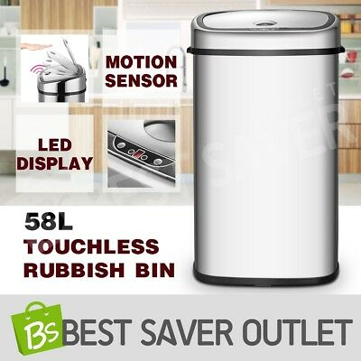 58L Automatic Infrared Motion Sensor Stainless Steel Kitchen Office Rubbish Bin