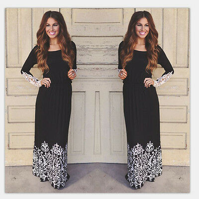 Fashion Women Summer Lace Long Sleeve Party Evening Cocktail Maxi Long Dress New