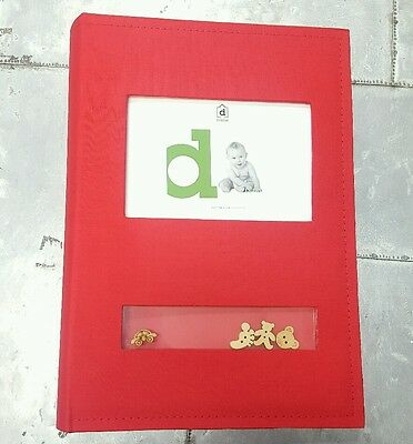 Red fabric baby boy / girl photo album w wooden figurines holds 300 pics CUTE !