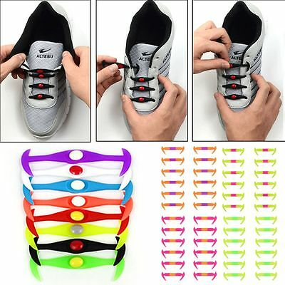 12x Lazy Easy No Tie Shoelaces Silicone Elastic Shoe Lace Kid Adult All Sneakers