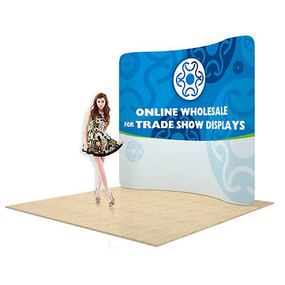 New 7.5ft Curved Back Wall Fabric Tension Trade show Display with Custom Graphic