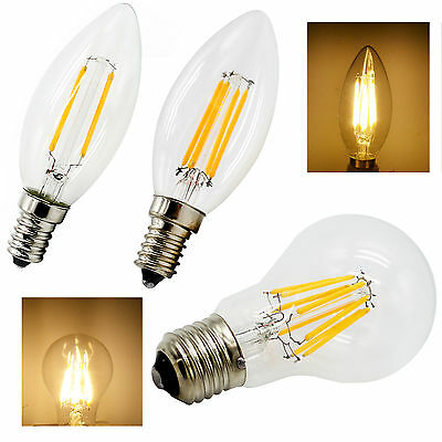 Dimmable E14 E27 Warm White LED Filament Bulb Globe Candle Light 2W 4W 6W 220V