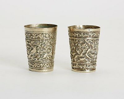 Pair Antique North Indian Moulded Silver Cups 19Th C.