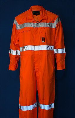 King Gee K51250 Hi-Vis Orange work Overall with Hooped ReflectiveTape New