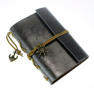 Vintage Leather Bound Blank Pages Journal Diary Notepad Notebook (Black) S SP