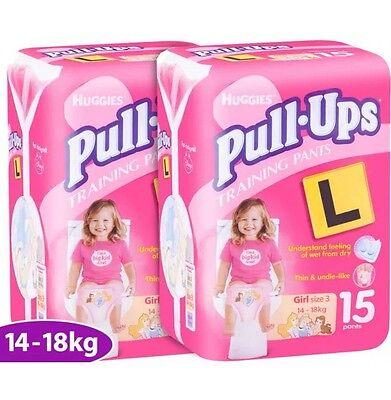 New 2 x 15pk Huggies Pull-Ups Training Pants Size 3 Girls 14-18kg PICK UP ONLY